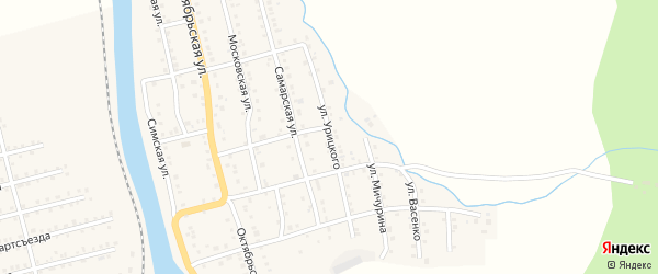 Улица Урицкого на карте Аши с номерами домов