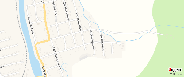 Улица Мичурина на карте Аши с номерами домов