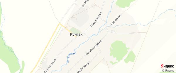 Карта деревни Кунгака в Башкортостане с улицами и номерами домов