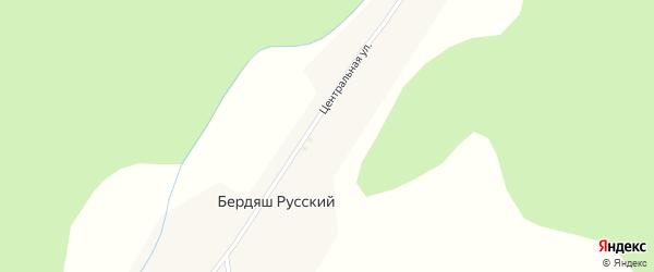 Центральная улица на карте села Бердяша Русского с номерами домов