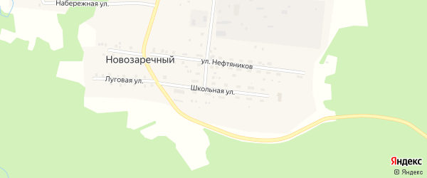 Школьная улица на карте Новозаречного поселка с номерами домов