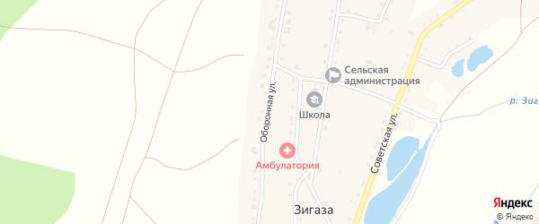 Улица Оборонна на карте села Зигазы с номерами домов
