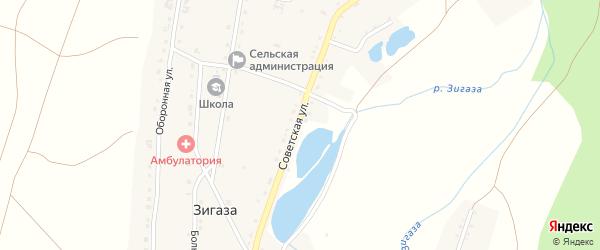 Советская улица на карте села Зигазы с номерами домов