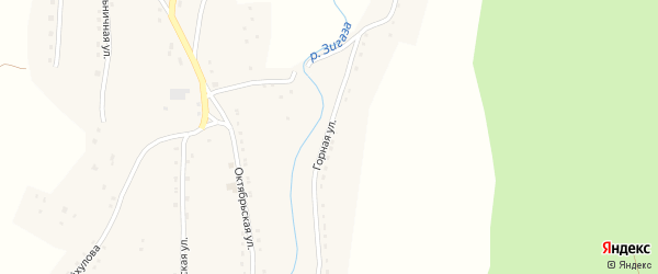 Горная улица на карте села Зигазы с номерами домов