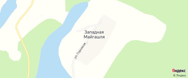 Улица Горняков на карте деревни Западной Майгашля с номерами домов