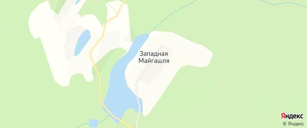 Карта деревни Западной Майгашля в Башкортостане с улицами и номерами домов