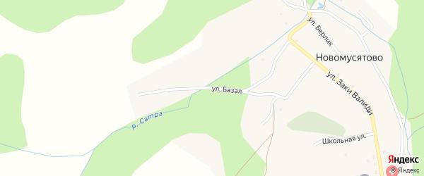 Улица Базал на карте деревни Новомусятово с номерами домов