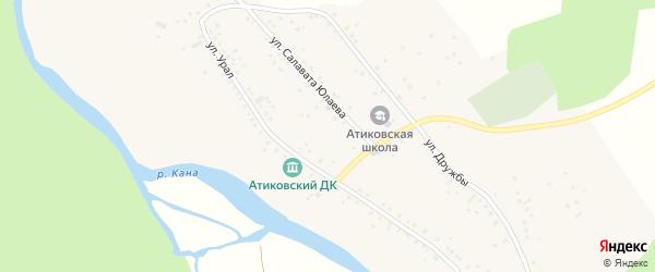 Улица Урал на карте деревни Атиково с номерами домов