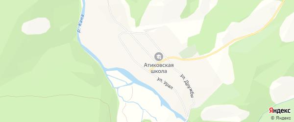 Карта деревни Атиково в Башкортостане с улицами и номерами домов