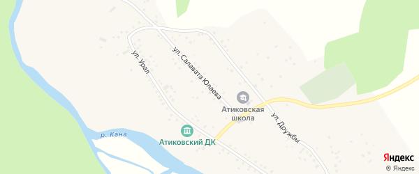 Улица Салавата Юлаева на карте деревни Атиково с номерами домов