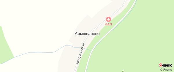 Центральная улица на карте села Арышпарово с номерами домов