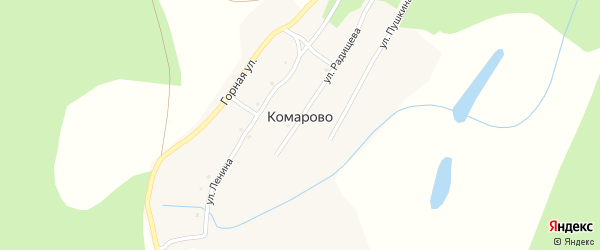 Улица Радищева на карте деревни Комарово с номерами домов