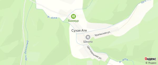 Карта поселка Сухой Атя в Челябинской области с улицами и номерами домов