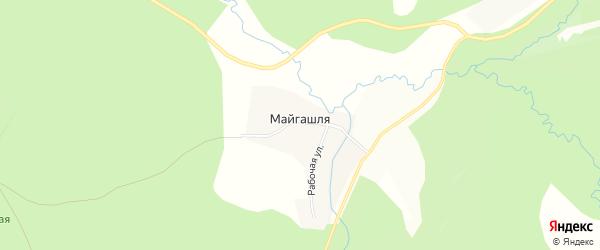Карта деревни Майгашля в Башкортостане с улицами и номерами домов
