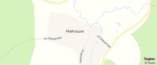 Улица Некрасова на карте деревни Майгашля с номерами домов