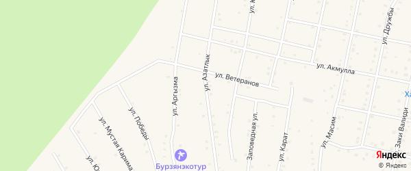 Улица Азатлык на карте села Старосубхангулово с номерами домов