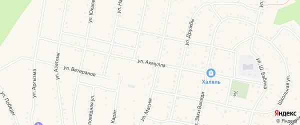 Улица Акмулла на карте села Старосубхангулово с номерами домов