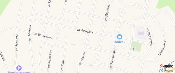 Улица Масим на карте села Старосубхангулово с номерами домов