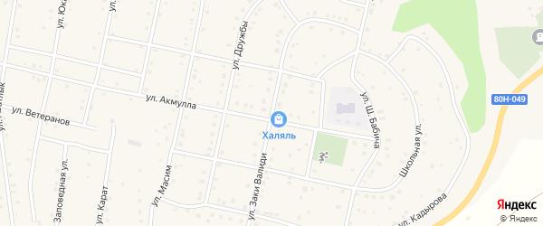 Улица Заки Валиди на карте села Старосубхангулово с номерами домов