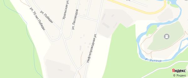 Нефтепроводная улица на карте села Зилаир с номерами домов