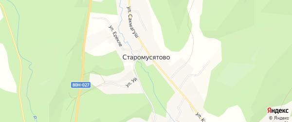Карта деревни Старомусятово в Башкортостане с улицами и номерами домов