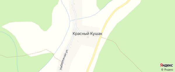 Набережная улица на карте хутора Красного Кушака с номерами домов