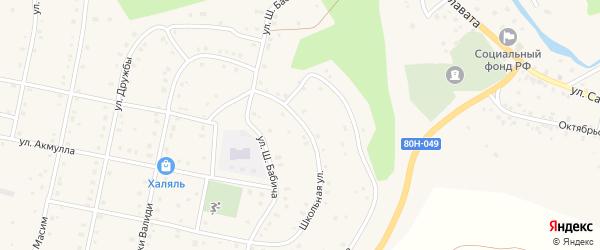 Школьная улица на карте села Старосубхангулово с номерами домов