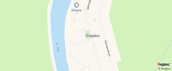 Набережная улица на карте деревни Озерки с номерами домов