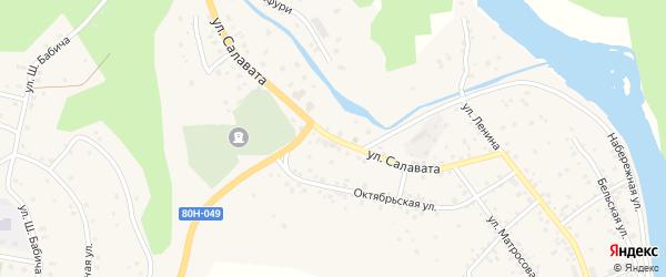 Улица Салавата на карте села Старосубхангулово с номерами домов