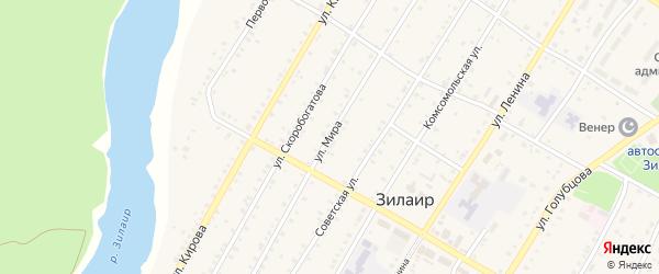 Улица Мира на карте села Зилаир с номерами домов