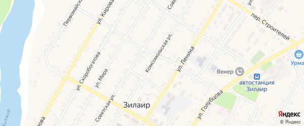 Комсомольская улица на карте села Зилаир с номерами домов