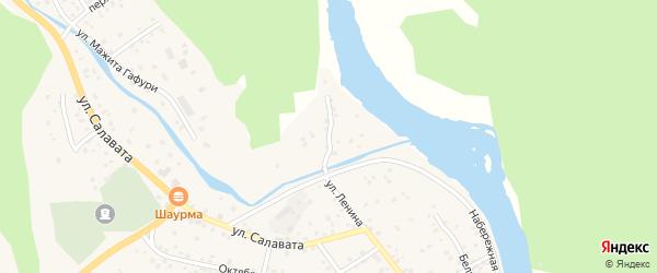 Заречная улица на карте села Старосубхангулово с номерами домов