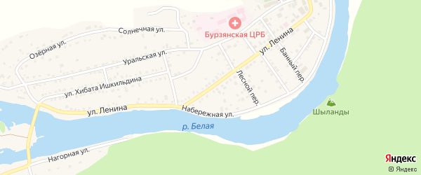 Улица Ленина на карте села Старосубхангулово с номерами домов