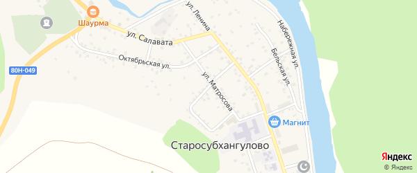 Кирпичный переулок на карте села Старосубхангулово с номерами домов