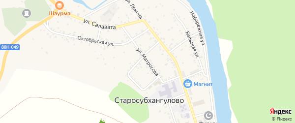 Улица Матросова на карте села Старосубхангулово с номерами домов