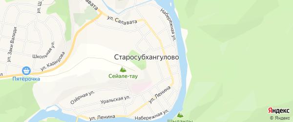 Карта села Старосубхангулово в Башкортостане с улицами и номерами домов