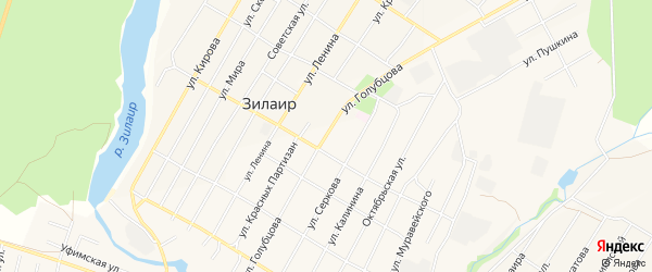 Карта села Зилаир в Башкортостане с улицами и номерами домов