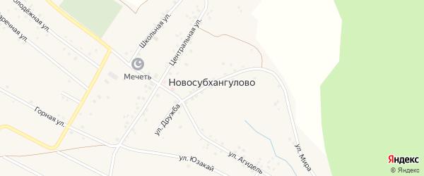 Горная улица на карте деревни Новосубхангулово с номерами домов