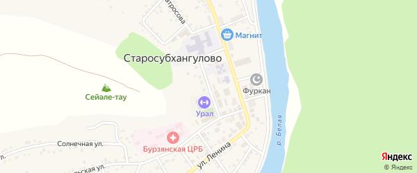 Комсомольская улица на карте села Старосубхангулово с номерами домов