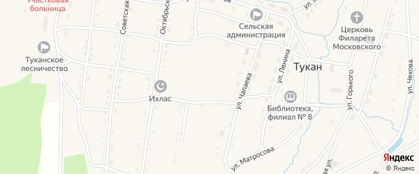Улица Чапаева на карте села Тукана с номерами домов