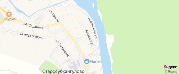 Бельская улица на карте села Старосубхангулово с номерами домов