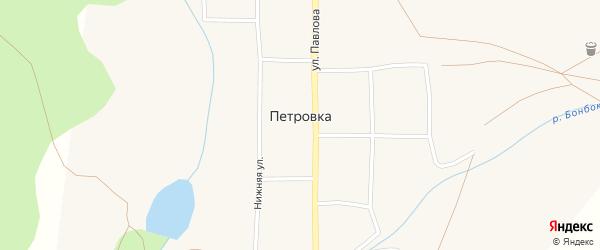 Зеленая улица на карте села Петровки с номерами домов