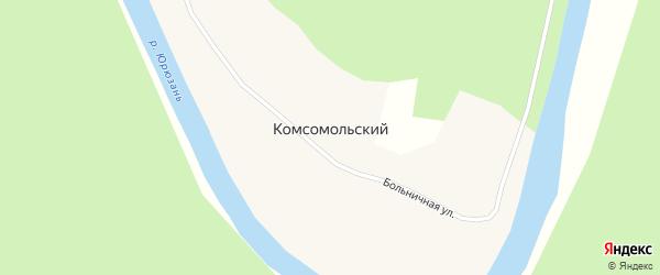 Больничная улица на карте деревни Комсомольского с номерами домов