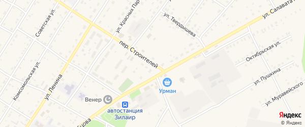 Переулок Строителей на карте села Зилаир с номерами домов