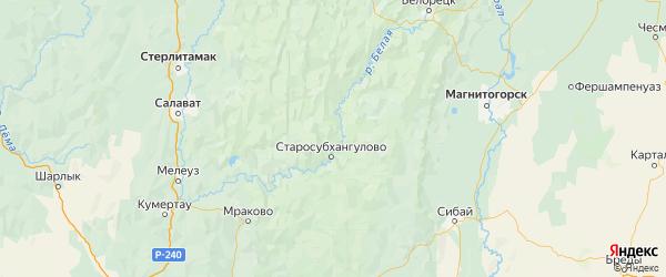 Карта Бурзянского района республики Башкортостан с городами и населенными пунктами