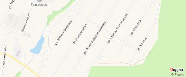 Улица Александра Башкатова на карте села Зилаир с номерами домов