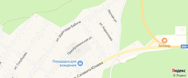 Улица Щипакина на карте села Зилаир с номерами домов