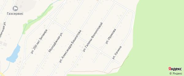 Улица Галины Филлиповой на карте села Зилаир с номерами домов