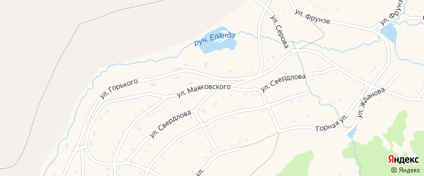 Улица Маяковского на карте села Тукана с номерами домов