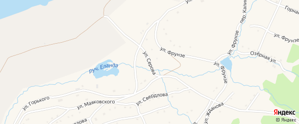 Улица Серова на карте села Тукана с номерами домов